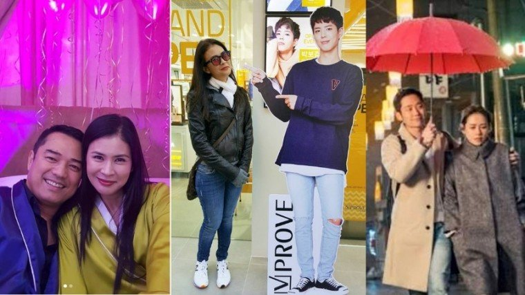 (Center photo) Gelli in her 2016 visit to Korea, posed with a standee of her idol Park Bo Gum. (Rightmost photo) Gelli's photo capture of a scene from Something In The Rain that starred actress Son Ye-jin and actor Jung Hae-In.