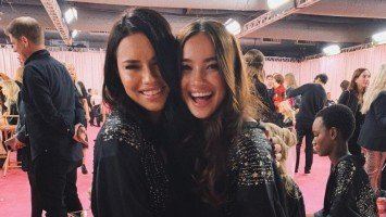 Kelsey Merritt meets Adriana Lima at Victoria's Secret Fashion Show