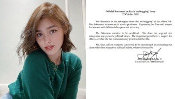 Legal counsel of Liza Soberano releases statement regarding 'red-tagging' issue of the actress