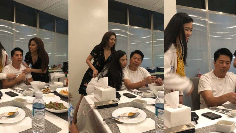 Willie gets thank you hugs from Wowowin dancers Baby Gene (left) and Lyka Makino.