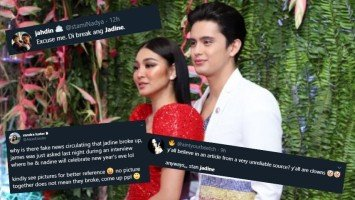 JaDine fans react to news of alleged break-up of James Reid and Nadine Lustre