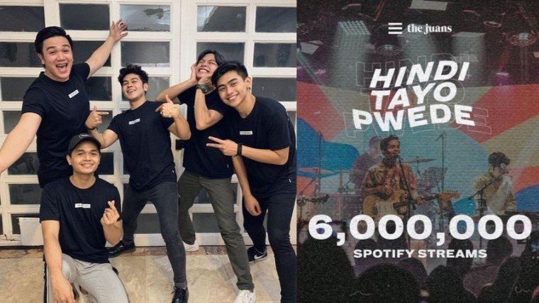 "The Juans reaches six million streams on Spotify for their song ""Hindi Tayo Pwede""."