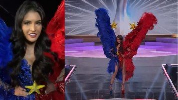 Rabiya Mateo, inirampa ang national costume na gawa ni Rocky Gathercole; headpiece ni Manny Halasan, na-etsapwera