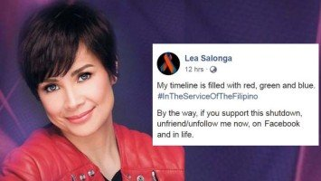 """Pika's Pick: Lea Salonga """"dethrones"""" Korina Sanchez as she urges ABS-CBN shutdown supporters to """"unfriend/unfollow her on Facebook and in life."""""""