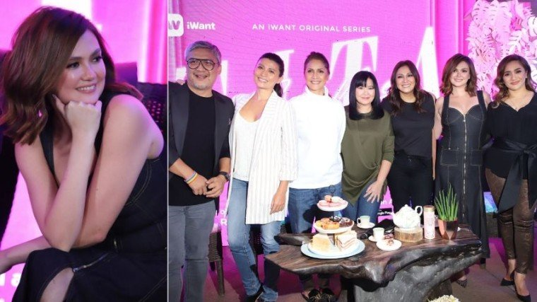 (Right photo) The iWant series, with concept and direction by Andoy Ranay (leftmost), stars (L-R) Mylene Dizon, Agot Isidro, Lorna Tolentino, Cherry Pie Picache, Angelica Panganiban, and Joanna Ampil.