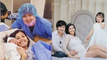 Shamcey Supsup gives birth to baby boy