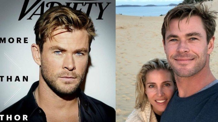 (Right Photo:) Chris with wife Elsa Pataky