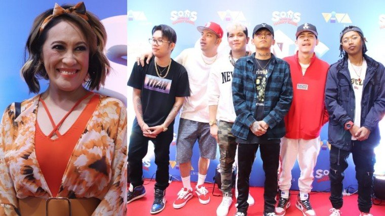(Right Photo) The Ex Battalion (L-R) Emcee Rhenn, Brando Samonte, King Badger, Skusta Clee, Bosx1ne, and Flow-G