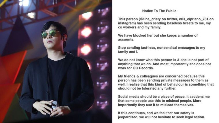Kean Cipriano warned his followers on his social media accounts about a basher who continuously spread rumors about him online.