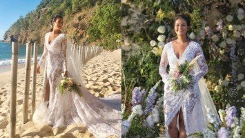 FIRST LOOK: Iza Calzado is picture perfect in her lace Rajo Laurel wedding gown