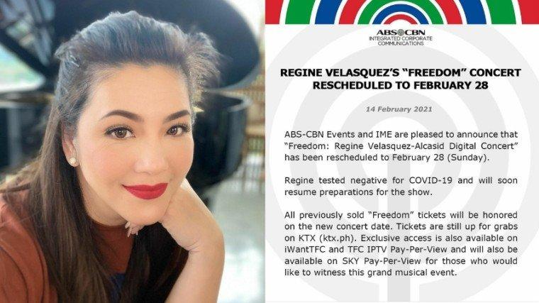 Regine Velasquez has set her recently-postponed Freedom concert to February 28!