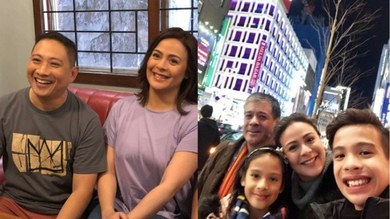 (Left Photo) Bitoy and Dawn on the set of Family History, ang film directorial debut ni Bitoy na siya ring ang producer (along with GMA Pictures), artista, at writer. It's slated for a June or July showing. (Right Photo) Dawn (center) with the loves of her life: husband Anton and her kids Jacobo and Ayisha.