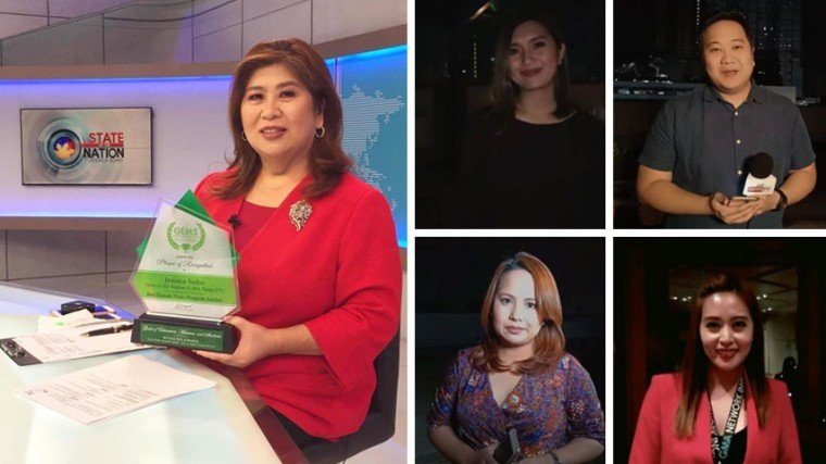 State of the Nation is GMA News TV's flagship newscast anchored by Ms. Jessica Soho (left photo) and her news reporters include (clockwise from top left) Mav Gonzales, JP Soriano, Katrina Son, and Lei Alviz.