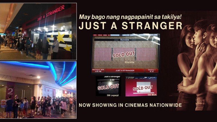 Photo on the top left taken at the SM Baguio Cinema; photo on bottom left shows the evening crowd at Robinson's Magnolia in QC; and photo collage on the right shows the sold-out afternoon screenings in Glorietta, SM  Legaspi, and SM MOA in Manila