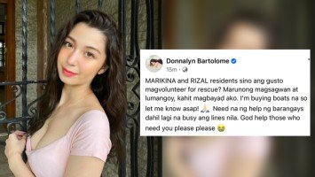 Pika's Pick: Donnalyn Bartolome is calling for help for flooded Marikina; says she's buying boats and willling to pay rescuers