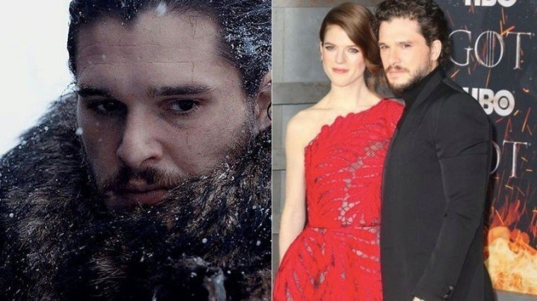 (Right Photo) Kit Harington with his wife Rose Leslie.