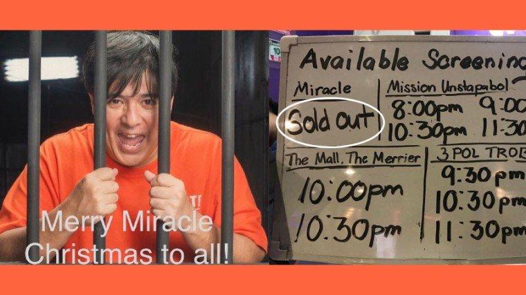 Opening screening palang kahapon at punuan na ang mga sinehan ng Miracle in Cell No. 7 at naging consistent ang ganitong scenario up until mag-last full show. May mga sinehan pang nagpapa-paskel na sold out na ang Miracle.