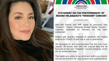 """Regine Velasquez apologizes for the postponement of """"Freedom"""" concert after exposure to someone positive for COVID-19"""
