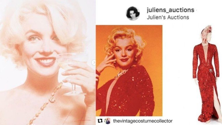 "I-o-auction ang 115 items and artifacts ni Marilyn Monroe, kabilang na ang famous red ""subway dress"" na sinuot niya sa pelikulang Gentlemen Prefers Blondes, this coming November 1 and 2 at the Standard Oil Building in Beverly Hills, California at with live auction online din via juliensauctions.com."