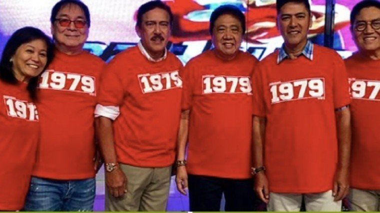 The original EB Dabarkads: (L-R) Malou Choa-Fagar (SVP and COO of TAPE, Inc.),  Joey de Leon, Tito Sotto, Tony Tuviera (President and CEO of TAPE, Inc), Vic Sotto, and Direk Bert de Leon.