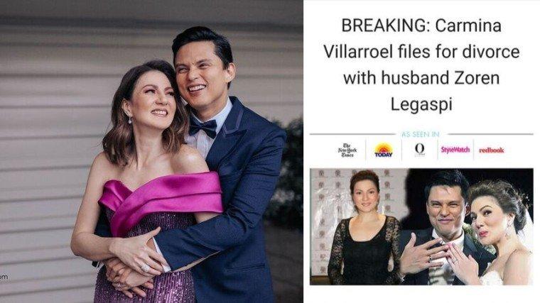 Carmina Villaroel slams skin-care product advertisement claiming she filed a divorce against husband Zoren Legaspi.