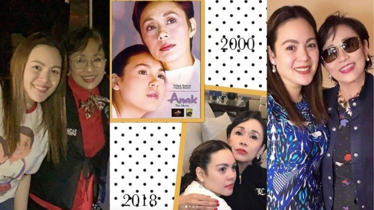 "(Left photo)) Claudine, wearing a Vilma Santos-Recto campaign shirt, here with her Ate Vi, whom she openly calls her ""idol."" (Center) Ate Vi posted this then and now collage photos of her and Claudine on her IG, @rosavilmasantosrect, last year. (Right) Ate Vi and Clau in another caption-less 2018 post from Ate Vi."