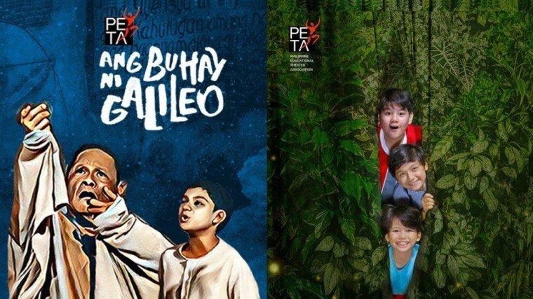 """Two of four plays in PETA's 51st season lineup: """"Ang Buhay ni Galileo"""" & """"Tagu-taguan Nasaan ang Buwan?""""."""