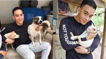 Diego Loyzaga spends time with birthday mom Teresa at an animal shelter in Laguna