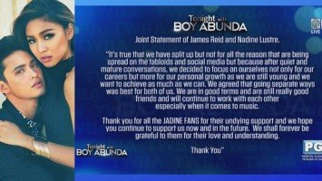 Pika's Pick: James Reid and Nadine Lustre admit breakup through a joint statement released through the Tonight With Boy Abunda show