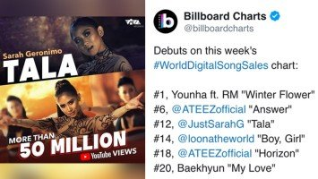 Pika's Pick: Sarah Geronimo's Tala lands at 12th spot in Billboard's World Digital Songs Sales chart; music video hits 50M views
