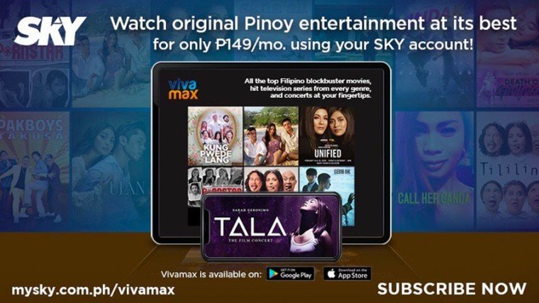 Vivamax, the country's newest streaming app  created by Viva Entertainment, offers subscribers access to Viva's vast catalogue of Philippine and Hollywood movies, K Dramas, concerts, documentaries, and others for only P149 a month,  which SKYcable or SKY Fiber subscribers can charge to their monthly billing starting April 15 (Thursday).