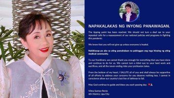Pika's Pick: Cong. Vilma Santos-Recto salutes medical frontliners and urges fellow government officials to heed their call for reassessment of Covid-19 policies