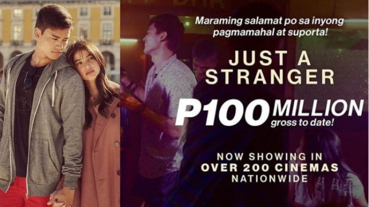 JUST A STRANGER JUST HIT A HUNDRED MILLION!! The Jason Paul Laxamana flick starring Anne Curtis and Marco Gumabao just grossed 100 million pesos in ticket sales! Congratulations, guys!