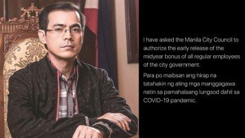 Pika's Pick: Yorme Isko Moreno, in lieue of the CoVid-19 crisis, is one of the first to local government officials to authorize early midyear bonus to his city's government employees.