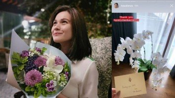 Bea Alonzo showered with flowers as a sign of support from colleagues
