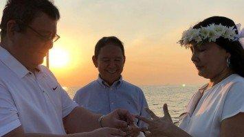 Amy Austria and husband Duke Ventura renew vows during Manila Bay cruise