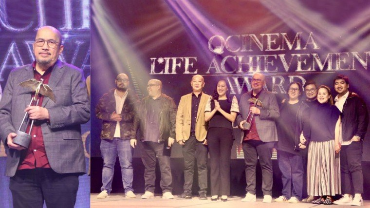 (Right photo) The QCinema Lifetime Achievement awardee Boss Vic del Rosario (fifth from left) received his trophy from QC Mayor Joy Belmonte (fourth from left) in the presence of his proud children and grandchildren.