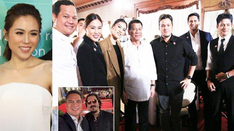 (Group photo, L-R): Bayani Agbayani, Toni Gonzaga, Alex Gonzaga, President Duterte, Direk Paul Soriano, Richard Gomez, and Robin Padilla. (Inset): Communications Secretary Martin Andanar and John Lloyd Cruz.