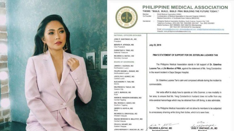 PMA expressed their support to their member in response to Yeng Constantino alleged doctor shaming on social media.