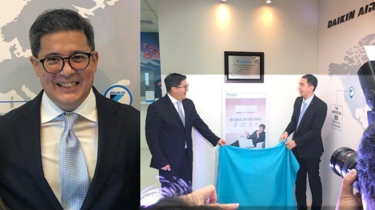 (Right photo) Aga Muhlach and Daikin president Lee Wai Kok unveil the poster bearing his advertorial photo. It's now displayed at the entrance of the Daikin's QC office, along with the plaque, announcing his brand ambassadorship, that he just signed that day.