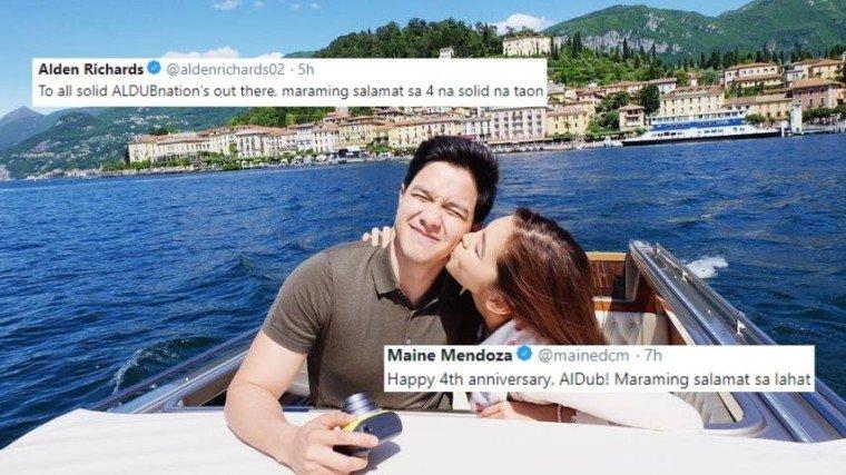 Binati ng tambalang Maine Mendoza and Alden Richards ang kanilang fandom na tinatawag na AlDub Nation para sa kanilang fourth year anniversary sa Twitter.