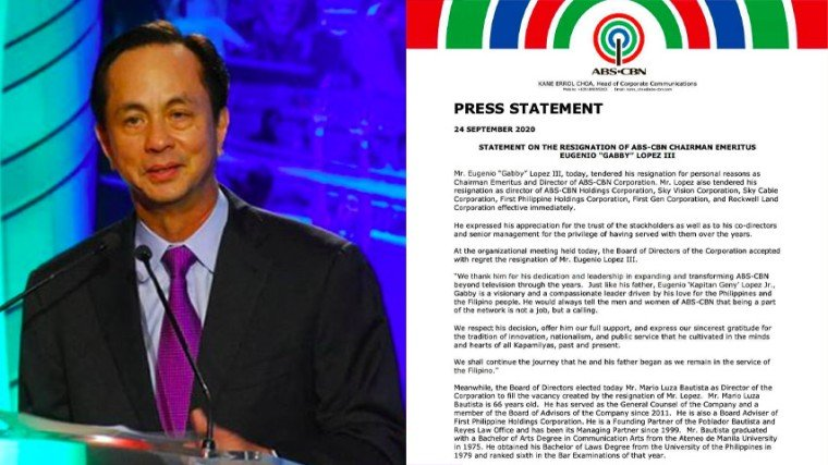 "Pika's Pick: Eugenio ""Gabby"" Lopez III resigns as Chairman Emeritus and Director of ABS-CBN Corporation and from all his posts in the Lopez-owned conglomerate"