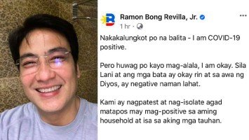 Pika's Pick: Sen. Bong Revilla reveals all his family members underwent Covid-19 tests after two staff members tested positive; says everyone in family tested negative except him