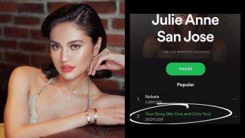 "Pika's Pick: Julie Anne San Jose's version of Parokya ni Edgar's ""Your Song"" hits 20 million streams on Spotify!"